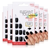 6x Elegant Touch Polished Black False Fake Flexible High Gloss Artificial Nails