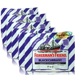 6x Fisherman's Friend Sugar Free Blackcurrant Menthol Lozenges Sweeteners 25g