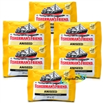 6x Fisherman's Friend Aniseed Menthol Sugar Free Lozenges Sweeteners 25g