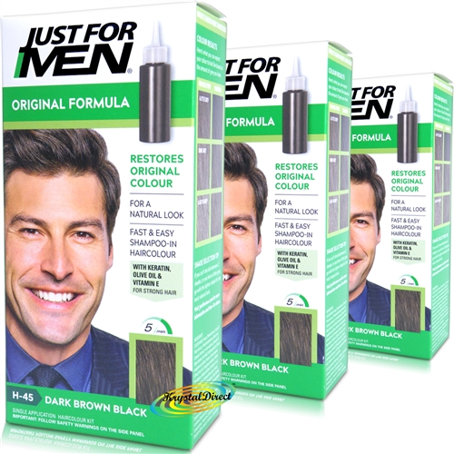 3x Just For Men Original Formula Dark Brown Black H-45