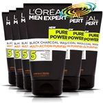 6x Loreal Men Expert Pure Power Black Charcoal Wash 150ml