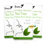 3x Pretty Deep Cleansing Tea Tree Nose Pore Strip Blackhead Removal Unclog Pores