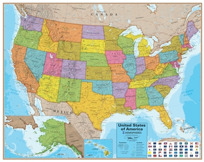 USA Laminated Wall Map with Flags