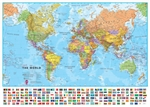 World Wall Map Small with Flags