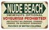 Nude Beach BC Vintage Metal Sign