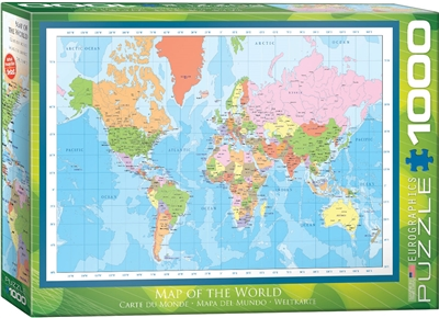 Modern World Map Puzzle 1000 Pieces