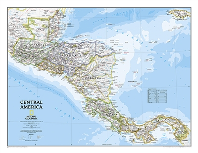 Central America Classic National Geographic Wall Map