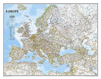 Europe Classic National Geographic Wall Map