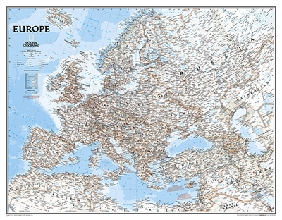 Europe Classic National Geographic Wall Map Enlarged