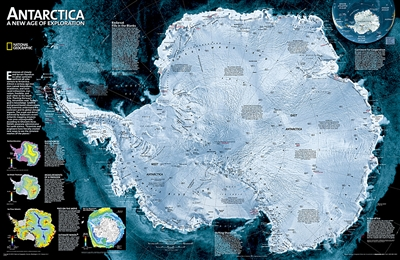 Antarctica Satellite National Geographic Wall Map