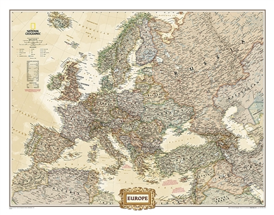 Europe Executive National Geographic Wall Map