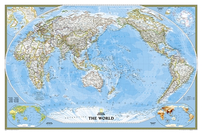 World Classic Pacific Centered National Geographic Wall Map