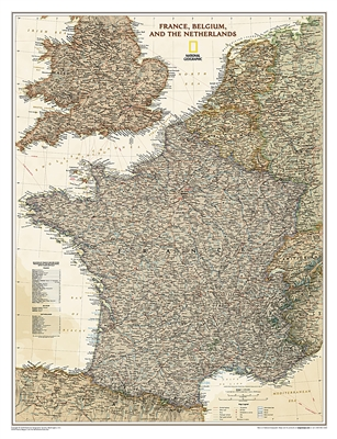 France Belgium and the Netherlands Executive National Geographic Wall Map