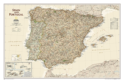 Spain and Portugal Executive National Geographic Wall Map