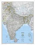 India Classic National Geographic Wall Map