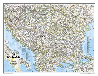 Balkans Classic National Geographic Wall Map