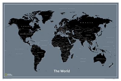 World Modern National Geographic Wall Map