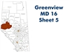 Greenview MD 16 Landowner map - Sheet 5. County and Municipal District (MD) maps show surface land ownership with each 1/4 section labeled with the owners name. Also shown by color are these land types - Crown (government), Freehold (private) and Crown