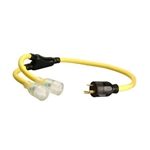 Coleman Cable 01915 3-Feet Generator Power Cord Adapter, 10/3 Splitter Y Adapter, L5-30P to (2) Lighted 5-20R
