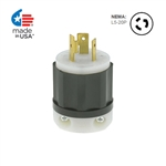 Leviton 20 Amp, 125 Volt, NEMA L5-20P, 2P, 3W, Locking Plug, Extra Heavy Dutry, Industrial Grade, Grounding - BLACK-WHITE