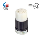 Leviton 20 Amp, 125 Volt, NEMA L5-20R, 2P, 3W, Locking Connector, Industrial Grade, Grounding - BLACK-WHITE