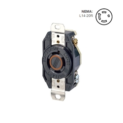 Leviton 20 Amp, 125/250 Volt, NEMA L14-20R, 3P, 4W, Flush Mtg Locking Receptacle, Industrial Grade, Grounding, V-0-MAX - BLACK