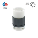 Leviton 20 Amp, 125/250 Volt, NEMA L14-20R, 3P, 4W, Locking Connector, Industrial Grade, Grounding - BLACK-WHITE