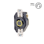 Leviton 30 Amp, 125 Volt, NEMA L5-30R, 2P, 3W, Flush Mtg Locking Receptacle, Industrial Grade, Grounding, V-0-MAX - BLACK