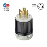30 Amp, 125 Volt, NEMA L5-30P, 2P, 3W, Locking Plug, Industrial Grade, Grounding - BLACK-WHITE
