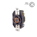 Leviton 30 Amp, 125/250 Volt, NEMA L14-30R, 3P, 4W, Flush Mtg Locking Receptacle, Industrial Grade, Grounding, V-0-MAX - BLACK