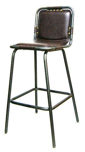 Padded seat and back industrial metal upholstered bar stool for Industrial design bar stools