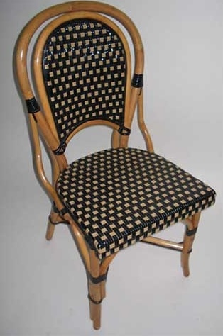 French Rattan Wood Bistro Chair Black Tan Glossy Weave