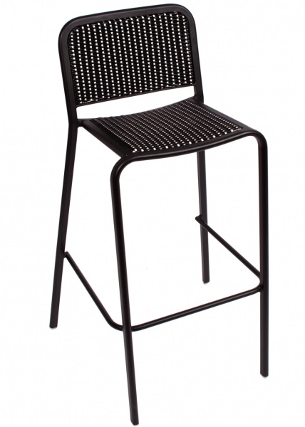 Outdoor Cafe Aluminum Stacking Bar Stools – Black Bistro Chair