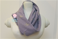 Amethyst with tan deer ladies' infinity scarf.