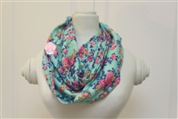 Aqua and fuchsia floral ladies' infinity scarf.