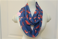 Blue With Foxes Ladies' Infinity Scarf