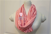 Coral and Pink Stripe Ladies' Infinity Scarf