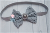 "Gray Lace 4"" Bow"