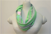 Gray and Neon Green Stripe Ladies' Infinity Scarf