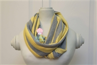 Gray and Yellow Stripe Ladies' Infinity Scarf