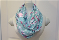 Light mint birds ladies' infinity scarf.
