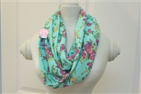 Light teal with plum floral ladies' infinity scarf.