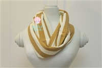 Mustard and cream stripe ladies' infinity scarf.