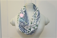 Navy and green fairisle ladies' infinity scarf.