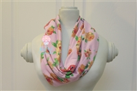 Light pink with coral and mustard roses ladies' infinity scarf.