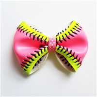 Neon Pink Softball Bow