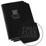 Rite in the Rain 771FX All-Weather Stapled Notebook, Universal, Black - 3 pack