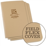 Rite in the Rain 971TFX All-Weather Stapled Notebook, Universal, Tan - 3 pack