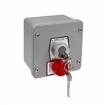 1KXS Commercial garage door key switch with center return red stop button