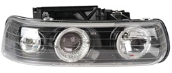 1999-2002 Chevy Silverado Headlights, Black Clear, by AnzoUSA